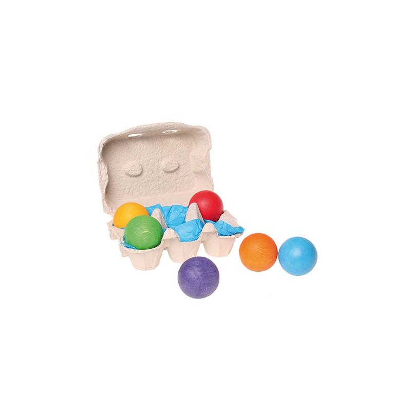 6 bolas de madera arco iris de grimm 39 s - Bolas de madera para manualidades ...