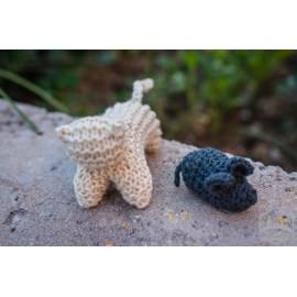 gato y ratón de lana tejidos a mano waldorf