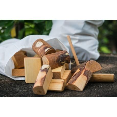 bloques de construcción de madera natural