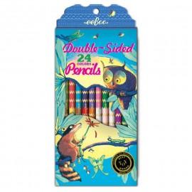 Set de lápices DOBLE CARA Búho y Mapache de eeBoo