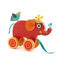 elefante para arrastrar de madera ecotoy
